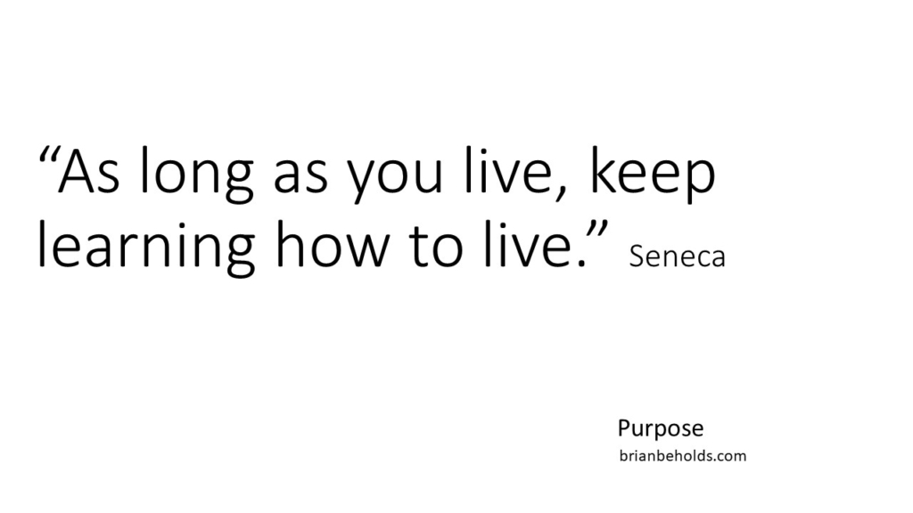 """Purpose Quotes """"As long as you live, keep learning how to live."""" Seneca"""